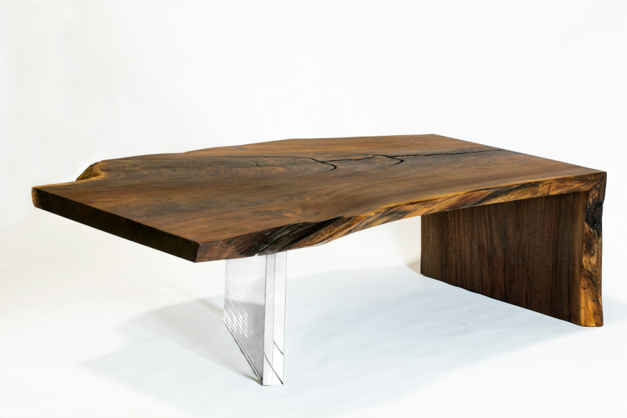 Superior Woodcraft CLARO WALNUT LIVE EDGE WATERFALL COFFEE TABLE